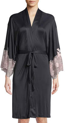Josie Natori Harlow Lace-Trim Jersey Robe