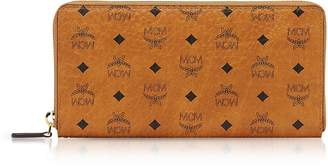 MCM Cognac Visetos Original Large Zip Around Wallet