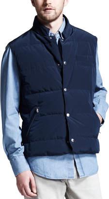 Brunello Cucinelli Microfiber Snap Vest, Navy