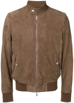 Eleventy slim-fit leather jacket