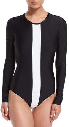 Cover UPF 50 Long-Sleeve Two-Tone One Piece, Black/White $190 thestylecure.com