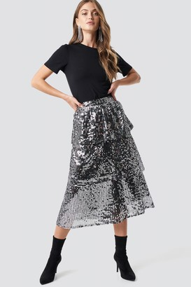NA-KD Flounce Sequins Midi Skirt Silver