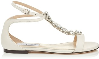 Jimmy Choo AVERIE FLAT Chalk Nappa Leather Sandals with Silver Crystal Piece