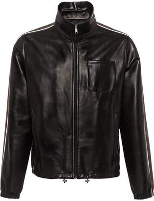 Prada side-striped leather jacket