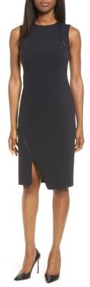 Women's Classiques Entier Leather Trim Italian Ponte Knit Dress $249 thestylecure.com