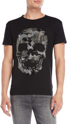 Heads Or Tails Rhinestone Camouflage Skull Tee
