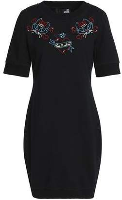 Love Moschino Embroidered Stretch-Cotton Terry Mini Dress