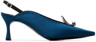 Yuul Yie Teal Lune 70 slingback oval brooch pumps