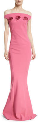 Chiara Boni Sissel Off-the-Shoulder 3D Rosette Gown
