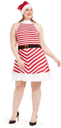 Planet Gold Trendy Plus Size Striped Fit & Flare Dress & Santa Hat