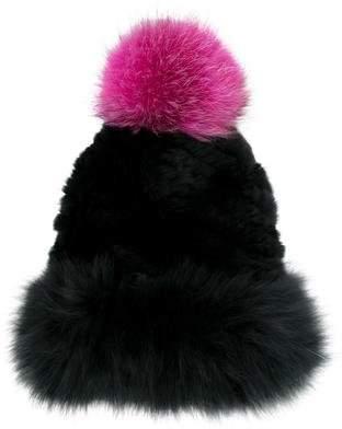 Jocelyn Fox Fur Pom-Pom Beanie
