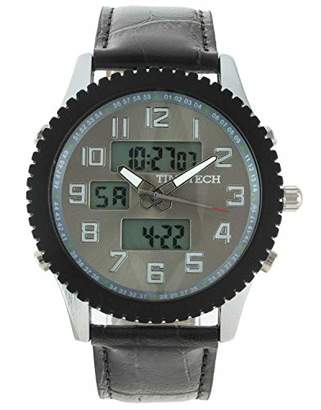 Viva Time Men's 'Timetech Analog Digital' Quartz Metal and Leather Sport Watch
