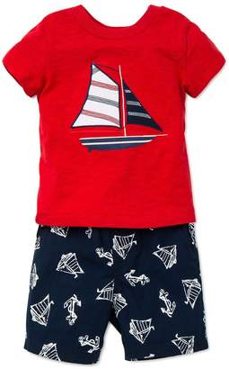 Little Me Little Boys Sailboat T-Shirt and Short Set