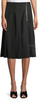 Marc Jacobs Pleated Side-Zip A-Line Wool Skirt