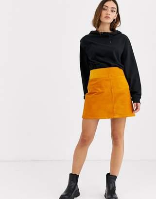Monki cord a-line mini skirt in mustard yellow