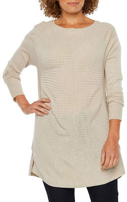 ST. JOHN'S BAY Long Sleeve Crew Neck Pullover Sweater-Petite