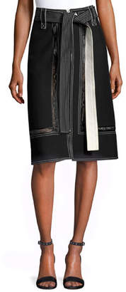 Derek Lam Lace-Inset Belted Zip-Front Skirt, Black
