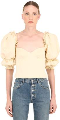 Brock Collection Ruffled Cotton Blend Poplin Bustier Top