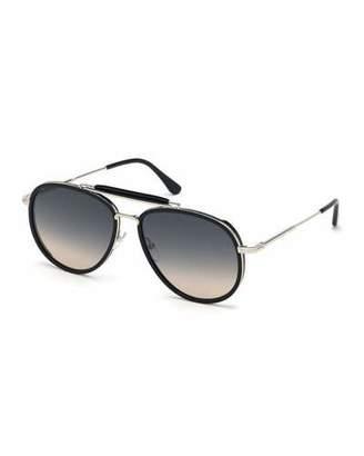 855116ee07 Tom Ford Men s Tripp Havana Aviator Sunglasses
