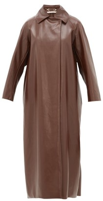 Emilia Wickstead Quincey Raglan Sleeve Faux Leather Coat - Womens - Dark Brown