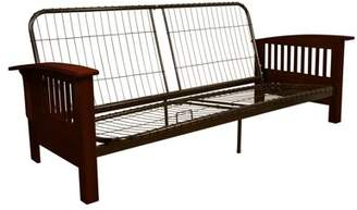 Comfort Style Morris Mission-Style Futon Sofa Sleeper Bed Frame, Full-size, Mahogany Arms