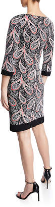 Neiman Marcus Paisley-Print Stretch Sheath Dress
