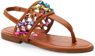 Steve Madden Kids Girls) Cognac Twizzle Thong Flat Sandals