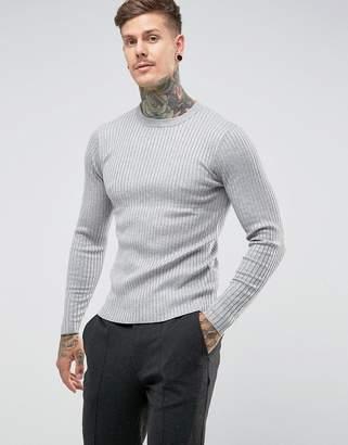Gianni Feraud Muscle Fit Rib Crew Neck Sweater