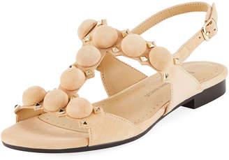 Neiman Marcus Egeria Studded Slingback Sandals, Camel