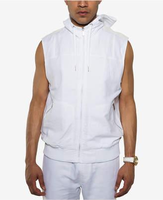 Sean John Men's White Party Linen Blend Sleeveless Zip-Front Hoodie