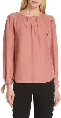 Rebecca Taylor Tailored by Sleeve Tie Silk Charmeuse Top