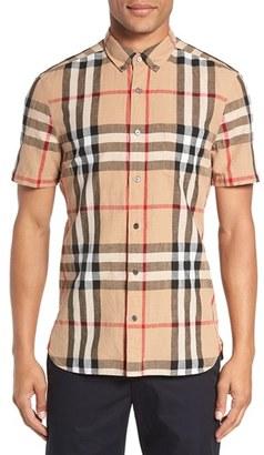Men's Burberry 'Elfords' Slim Fit Short Sleeve Check Linen & Cotton Sport Shirt $295 thestylecure.com
