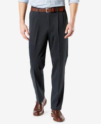 Dockers New Men Signature Lux Cotton Classic Fit Pleated Stretch Khaki Pants