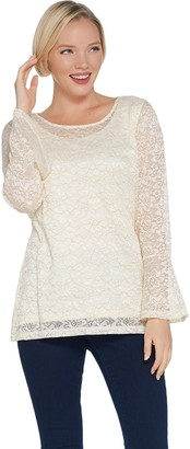 Isaac Mizrahi Live! Metallic Lace Bell Sleeve Knit Top