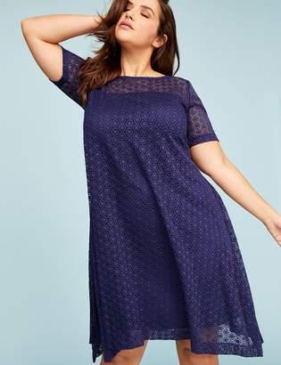 Short-Sleeve Lace Swing Dress