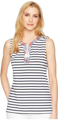 Tribal Yarn-Dyed Jersey Tank Top with Embroidered Tape and Tassels Women's Sleeveless