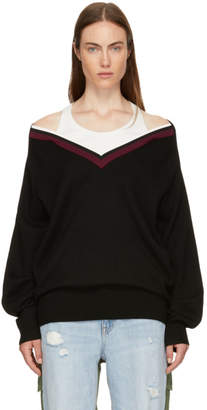 Alexander Wang Black Varsity Trim V-Neck Sweater