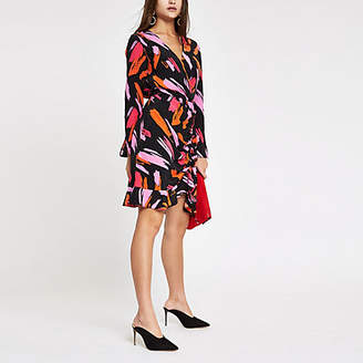 River Island Womens Pink print ruched wrap front dress