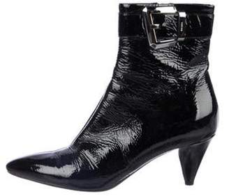 Prada Patent Leather Pointed-Toe Ankle Boots Black Patent Leather Pointed-Toe Ankle Boots