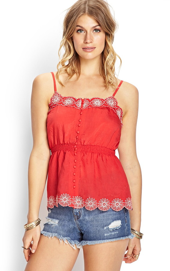 Forever 21 Embroidered Button-Front Cami