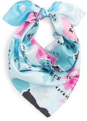 Women's Kate Spade New York 'Going Places' Silk Scarf $78 thestylecure.com