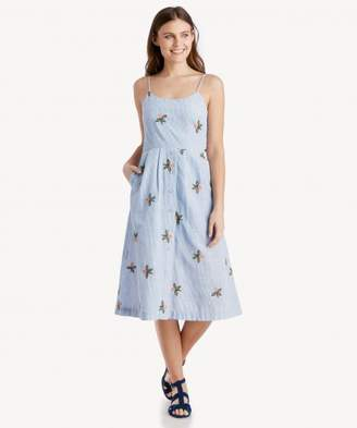 Sole Society Embroidered Midi Dress With Back Tie