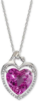 """Macy's Lab-Created Pink Sapphire (5-7/8 ct. t.w.) & White Sapphire (1/6 ct. t.w.) Heart 18"""" Pendant Necklace in Sterling Silver"""