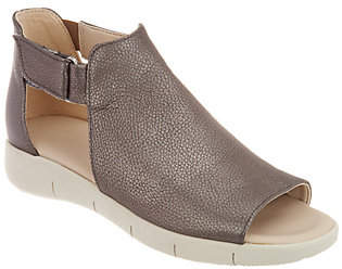 The Flexx Leather Peep-Toe Sandals - Front Row