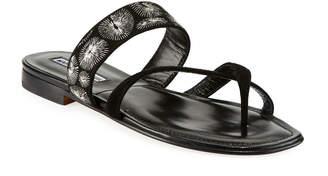 Manolo Blahnik Susilla Embroidered Flat Slide Sandals