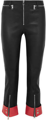 Alexander McQueen Cropped Two-tone Leather Slim-leg Pants - Black