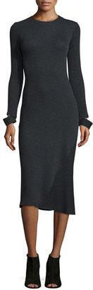 Helmut Lang Detached-Cuff Knit Midi Dress, Heather Gray $425 thestylecure.com