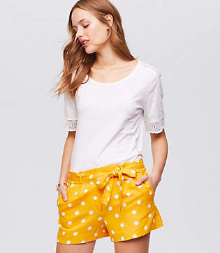 LOFT Petite Polka Dot Tie Waist Shorts
