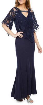MAYA BROOKE Maya Brooke Short Sleeve Embellished Evening Gown