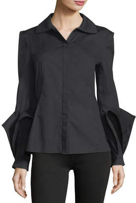 Zac Posen Spread-Collar Button-Front Cotton Blouse